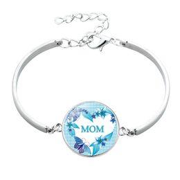 Fiori di rosa cabochon online-2019 New Mom Bangle Charm Cabochon Mom Rose Flower Love Bangle Wrist Bracciale regalo per la mamma
