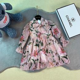 2019 rosa prinzessin schleier Mädchen kleiden Kinddesignerkleidungsherbst neues Chiffon- Gewebekleidbaumwollinnenkleid des Blumenmusters