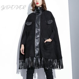 2019 collari in pelle per le donne 2019 New Spring High Neck a maniche lunghe in pelle nera Pu nappe Spit joint mantello giacca donne cappotto moda L734 collari in pelle per le donne economici