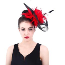 Britischer kleiner hut online-British Style Bride Rote Feder-Kopfschmuck Kleine Hat Qualitätssicherung Partei-Bankett-Damen Retro Handgemachte Haar-Accessoires Kappen