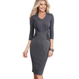 Vestidos de mujer de negocios equipados online-Primavera / Otoño Strip Casual Business Workwear Lápiz Vestido Clásico Ajustado Slim Mujer Vestido de oficina de negocios