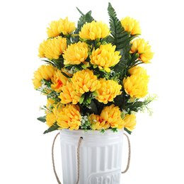 silk yellow chrysanthemum Coupons - 4 Colors 52cm 3pcs 27 Heads Silk Gerbera Daisy Chrysanthemum Artificial Flowers For Cemetery Grave Wedding Home Party Decoration