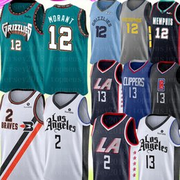 Camisas de basquete paul george on-line-2020 New 12 Ja Morant Jersey Universidade Kawhi 2 NCAA Leonard Paul 13 George Jersey Basketball Jerseys Bordados