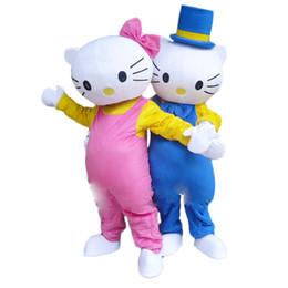 привет котенок взрослые Скидка 2019 Hello Kitty Симпатичные Необычные Платья Костюм Талисмана Персонаж Мультфильма Взрослый