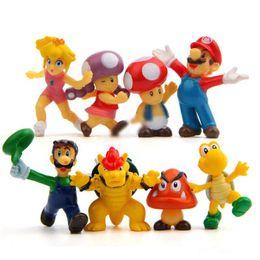 "Figli di funghi online-8 pz / set Super Mario Bros 2 ""action figure Mario Luigi Mushroom Toad Principessa Action Figure Super Mario yoshi PVC Per Kid giocattoli"
