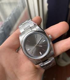 Mechanischer stil kunst online-Neue Art-Luxusuhren Sapphire New No Date Steel Domed 114300 Automatische mechanische Herren Herrenuhr männliche Armbanduhren # 8868