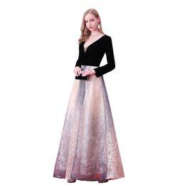 Canada Nouvelle arrivée élégante robe de soirée robes de soirée Robe de Festa dentelle robe de velours col en V robe de bal à manches longues Offre