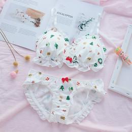 2019 set di lingerie giapponesi Dolce giapponese Lolita Gingerbread e alberi di Natale Stampa Intimo Tuta Bow Ruffle Sexy Lingerie Reggiseno Breve Mutandine Set set di lingerie giapponesi economici