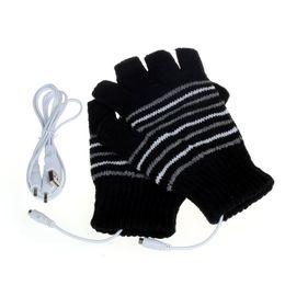 Перчатки с подогревом онлайн-Creative 5V USB Powered Heating Heated Gloves Women Hand Warmer Winter Knitting Wool Mitten Fingerless Gloves Femme