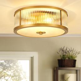 Vintage deckenleuchte glas online-Nordic LED-Deckenleuchten Luxuxweinlese-Glas Kupfer luminarias para teto Wohnzimmer Schlafzimmer Decken Beleuchtung für Zuhause