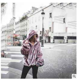 Lavendel hoodie online-2019 Herbst und Winter Abnutzung der Frauen Neues Muster Ma'am Lavendel Extra Large Plüsch Hoodie reiner Farben-Pullover Mantel mit Hut