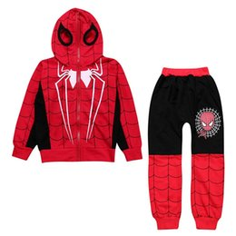 crystal hoodies Promo Codes - Free DHL Vintage Child Kids Boys Spiderman Tracksuits Sleeveless Hoodies+Pants 2pieces Suits Autumn INS Childdren Boys Clothing Sets