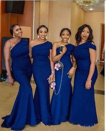 Sexy Royal Blue Bridemaid платья 2019 одно плечо African Нигерийский Mermaid партии платье плюс размер Вечерние платья от Поставщики африканские модели одежды бесплатно