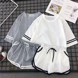 90aa8044c2b Summer 2 Piece Set Women Suit Casual Solid Striped Tops T-shirt + Wide Leg Short  Fashion Korean Student Twinset Tracksuit Women