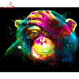 2019 картины обезьян DIY картины маслом по номерам красочные обезьяны картина холст Живопись настенные рисунки для гостиной стены искусства плакат дети подарки дешево картины обезьян