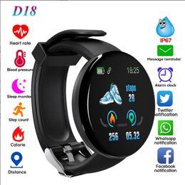 apple windows mobile Sconti frequenza cardiaca D18 di ossigeno nel sangue intelligente di orologi intelligenti sport braccialetto vigilanza degli uomini impermeabili IP65 e donne per iOS Android cellulare