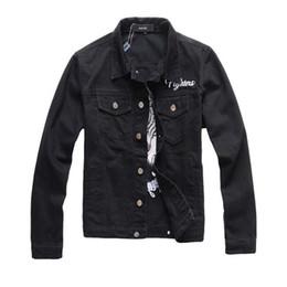 Tendencia de la chaqueta de mezclilla online-Hombres chaqueta vaquera tendencia occidental de la chaqueta del estilo de marca con la chaqueta de dril de algodón lavado roto viejo