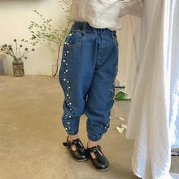 gerippt elastisch Rabatt Mädchen Jeans Kinder wulstige Doppel beiläufige Denimhosen Kinder elastischen Rippen ankler Cowboy Hosen 2019 neue Kinder des Herbstes Kleidung F9661