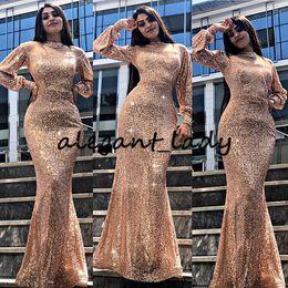 2020 sexy manschetten Sparkly reizvolle Nixe-Abend-Kleid 2020 Champagner Rose Goldsequin Lange Fastened Cuff Illusion-Ausschnitt-Abschlussball-Kleid-Abend rabatt sexy manschetten