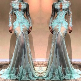 bc94b2c76ae8 2019 High Neck Gorgeous Long Sleeves Mermaid Evening Dresses See Through  Lace Formal Prom Dresses Cutaway Side Celebrity Gowns BC0003
