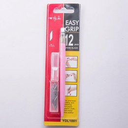 Cuchillas de bisturí online-12 unids / set cuchillas Hobby Knife Set Crafts Scalpel Graver herramientas de bricolaje para PCB reparación Multi Pen película de madera