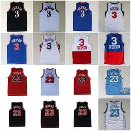 camisetas del equipo Rebajas College 23 Michael Jersey Baloncesto Allen 3 Iverson North Carolina Vintage Jerseys Team Away Negro Azul Blanco Rojo