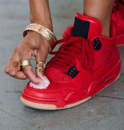 new style 4151e 3cbb4 (avec boîte) Nouvelles sorties célibataires Jour Chaussures de basket-ball  4s De Noël Rouge Cuir Supérieur TOP Qualité Hommes Designer Athletic Sports  ...