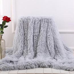 2020 cálidas y acogedoras mantas Suave manta manta de piel de cama larga Shaggy Fuzzy imitación de piel Mantas de invierno para Sofá cama caliente acogedora Con mullido Sherpa cálidas y acogedoras mantas baratos