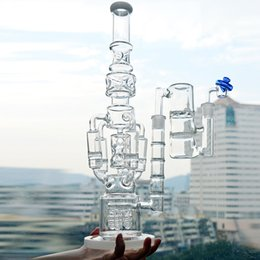 Plataforma de aceite de cohetes online-Tubería de agua de vidrio grande Dab Rigs Rocket Honeycomb Percolator Beaker 18 pulgadas Ice Catcher Recycler Bubbler Oil Rigs Free Ash Catcher Banger