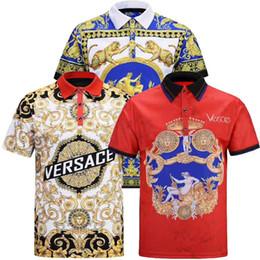 Мужские рубашки поло полиэстера онлайн-2019 Новая мода мужская рубашка поло мужская повседневная рубашка поло полиэстер сплошной цвет отдыха Medusa POLO летние виды спорта большой размер M-3XL G8
