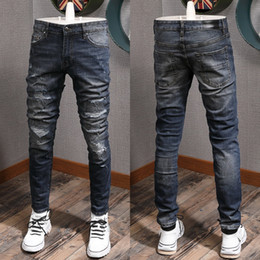 jeans estirados Rebajas Worn Out Tamaño Moto Jeans puntada Deatil Patch Denim Pantalón hombre Stretch Slim Fit de Big 38