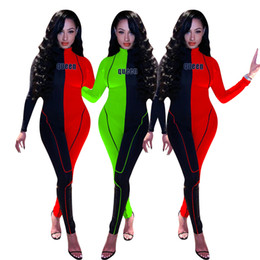 Volle ärmel sportbekleidung online-Autumn Colors Spliced Skinny Jumpsuits Casual Sports Long Sleeves High Neck Full Length Sexy Nightclub Wear Rompers Long Pants Hot Sale
