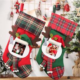 Medias de fotos online-Nuevas medias grandes de Navidad con marco de fotos Transparente decoraciones de Navidad Calcetines bolsas de regalo