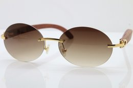 f6c36d69cd Wholesale High end brand Hot Decor Wood frame gold wood glasses frames New  Rimless T8307003 Sunglasses luxury Sun glasses Size 56-18-140mm