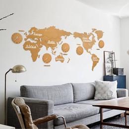 moderno relógio de parede redondo Desconto Criativo mapa do mundo de madeira relógio de parede mapa 3d decorativo design de decoração para casa sala de estar moderno estilo europeu rodada mudo relogio de parede