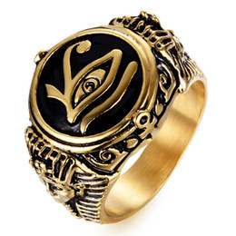 Gioielli antichi di croci online-Titanio Acciaio Gotico Antico Egitto Faraone egiziano L'occhio di Horus Wedjat Eye Ankh Croce Vintage Ring For Men Gioielli Steampunk Gold Plat
