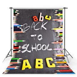 Okul Kutlama Parti Dekoru Renkli İngilizce Alfabe Kalem Çocuk Backdrop standında için geri MEHOFOTO Fotoğrafçılık Arkaplan nereden