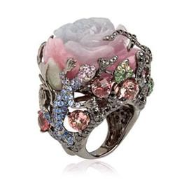 Anéis de videira on-line-Venda quente peônia videira pedra natural lagarto preto anel de ouro presente de Natal