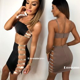 Cocktailanzüge online-New 2018 Sexy Frauen-Verband Bodycon Ärmel Cut Out-Party-Cocktail-Verein Crop Top Minirock Frauen Kleider Anzüge