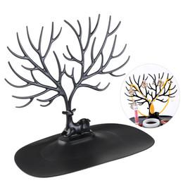 Дизайн древостоя онлайн-Декоративные олень Рога дерево дизайн браслет ожерелье держатель / черный организатор ювелирных изделий стенд ж/ кольцо лоток (черный)