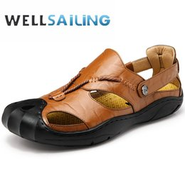 pu fabric code Promo Codes - Genuine Leather Will Code Baotou Sandals Man Summer Ventilation Outdoors Leisure Time Non-slip Genuine Leather Beach Shoes