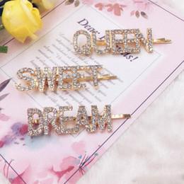 pinzas para el cabello de acero inoxidable Rebajas Diamantes de imitación de cristal de oro Carta Pinzas para el cabello Chica Horquilla Bling Diamante Palabras Barrettes Moda Flequillo Clip Mujer Adhesión para el cabello