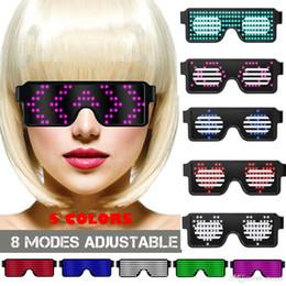 Rave gafas de sol brillan online-Clubbing LED Light Up Sunglass LED Gafas Glow Costume Rave Cosplay Party LED Luminoso Flash Gafas Obturador Gafas Disco Bar