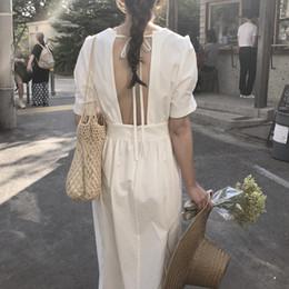 vestido de encaje de algodón para damas. Rebajas SuperAen Lace Fashion Women Dress Color sólido Algodón Casual para mujer Vestido de manga corta Verano Nuevo 2019 Ropa de mujer