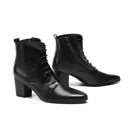 Scarpe da uomo Stivaletti da cowboy Stivaletti in pelle morbida nera Tacchi spessi Tacchi alti da uomo Zapatos Hombre Vestir Stringate uomo Oxford da