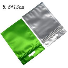 Полиэтиленовый пакет для электронных онлайн-8.5 * 13 см матовый зеленый алюминиевой фольги прозрачный пластиковый Zip Lock мешок Reclosable матовый Поли майлар мешок для пищевых электронных аксессуаров упаковки
