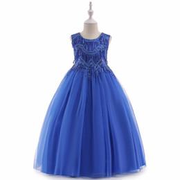 Ropa de pasarela online-2019 Ropa de los niños vestidos de fiesta niña de las flores princesa vestido con flecos párrafo largo vestidos de noche vestido de traje pasarela niñas vestidos