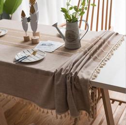 2019 tovaglia all'ingrosso del cotone Tovaglia artistica di lino decorativo plaid con nappa impermeabile tovaglia tavolo da pranzo rettangolare resistente all'olio e nappa