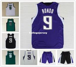Форма рондо rajon онлайн-Последние мужские баскетбольные майки # 9 Rajon Rondo Jersey Вышивка с логотипом Новые ткани Сшитая спортивная рубашка высшего качества Ncaa