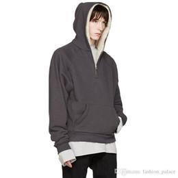 Capuz preto de capuz oversized on-line-Temor de Deus Inverno Hoodie Men Cashmere capa Half-Zip Jacket Grey Black moletom com capuz Casual Hip Hop Oversized Hoodies Streetwear YYG1013